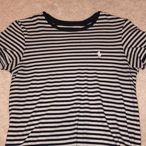 navy blue and shite polo tee